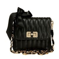 Black Mini Shoulder Bag with Golden Chain and Bowknot Details