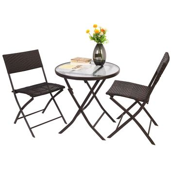 Patio Furniture Folding 3PC Table Chair Set Bistro Style Backyard Ratten
