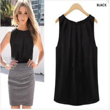 Women Black white O-neck Sleeveless Summer Soft Tank Top Women Sexy Vest Chiffon Top Casual Camisole Shirt
