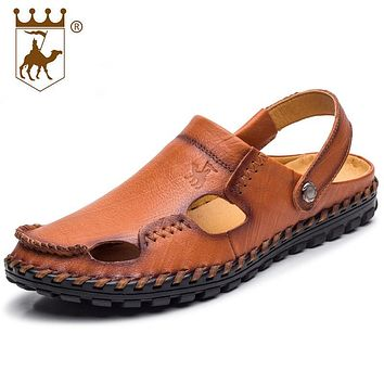 BACKCAMEL Summer Sandals High-end Leather Slippers Outdoor Walking Casual Beach Men Handmade Genuine Leather Shoes Soft Bottom