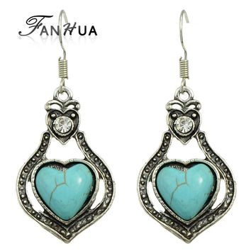 Indian Jewelry  Antique Silver Color Blue Stone  Big Dangle Boho Heart Earrings