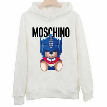Moschino autumn and winter new tide brand bear print couple models hooded sweater White