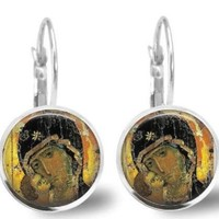 Theotokos Earrings Russian Orthodox Icon Earrings Handmade Virgin Mary Vladimir