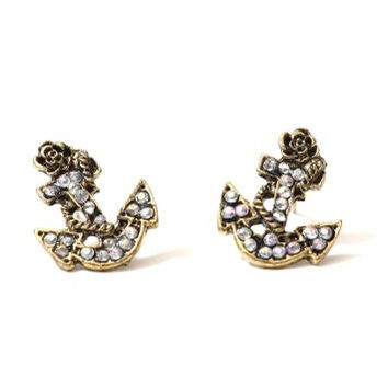 Nautical Anchor Stud Earrings Aurora Borealis Crystal Vintage Gold Tone EB44 Yacht Sailor Maritime Post