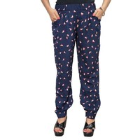 Mogul Women's Trouser Navy Blue Printed Designer Comfy Yoga Pants - Walmart.com