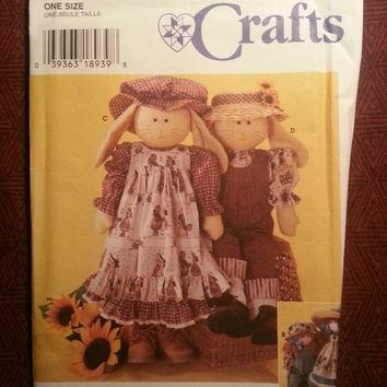 Uncut 1996 Simplicity Sewing Pattern, 7142! Rag Doll/Stuffed Bunny/Doll Clothes/Jumpsuits/Dresses/Pinafore/Overalls/Hats