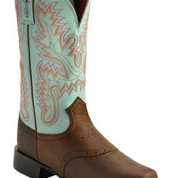 Justin AQHA Teal Stitched Cowgirl Boots - Square Toe - Sheplers