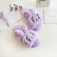 Cartoon cute bunny slippers, women slippers, big eyes buck slippers, home slippers, free shipping!