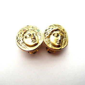 Vintage Greek God Earrings - Clip On Earrings - MMA Earrings