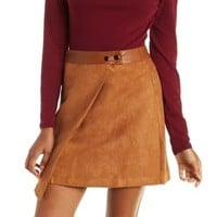 Brown Faux Leather & Suede Wrap Skirt by Charlotte Russe
