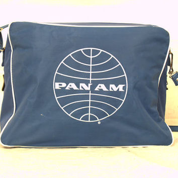 Vintage 1960s Pan Am Carry On Flight Bag, Small Shoulder Luggage