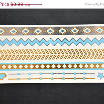 NEW! Metallic Gold Silver And Sky Blue Bracelet Armband Temporary Tattoo - Easy Application Metallic Tattoo - Great for any Outdoor Event!