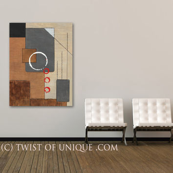 Zen Painting, ORIGINAL Large Enso Abstract Painting, Large Cubist abstract painting, -Brown, Black, Red, Enso, cubist