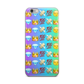 Grin Princess Crown Cash Money With Wings Blue Diamond & 100 Emoji Collage Teen Cute Girly Girls Purple & Sky Blue iPhone 4 4s 5 5s 5C 6 6s 6 Plus 6s Plus 7 & 7 Plus Case