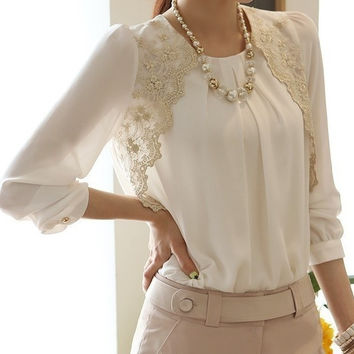 Fashion New Women Embroidery Long-sleeved Chiffon Shirts Lace Blouse Lady Casual Basic Shirt Women's clothing S M L XL = 1651260868