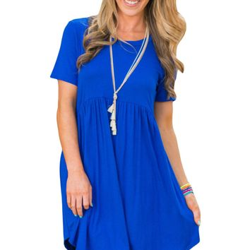 Chicloth Blue Short Sleeve Pullover Babydoll Style Casual Dress