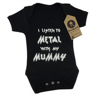 I listen to Metal with my Mummy printed baby vest alternative goth rock