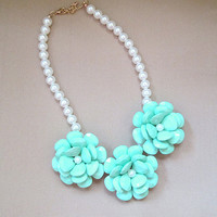 flower Beaded Bib Statement necklace chain adjustable statement jewelry designer inspired - Mint