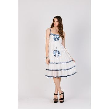 White Summer Dress With  Blue Embroidery Work