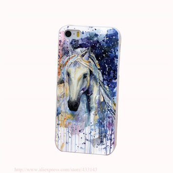 Watercolor Horse Ruiss Hard White Cover Case for iPhone 4 4s 5 5s 5c 6 6s Protect Phone Cases