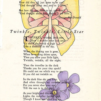 Yellow Tinted Butterfly with Purple Flowers Book Page Art Poem Page Art Upcycled Art Print Antique Poem Book Yellow Butterfly Print cp397