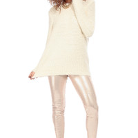 Ivory Knit Flowy Eyelash Sweater