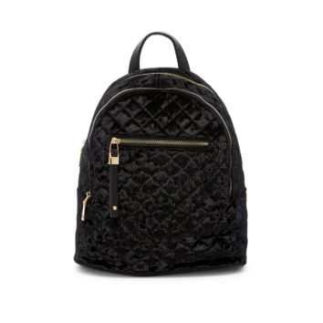 Urban Expressions – Women's Black Quilted Velvet Mini Backpack Bag