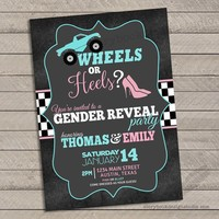 Truck Wheels or Heels Gender Reveal Invitations