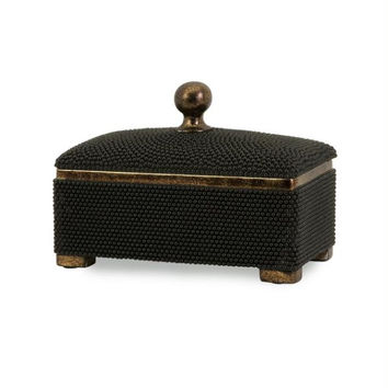 Decorative Box - Black Beaded
