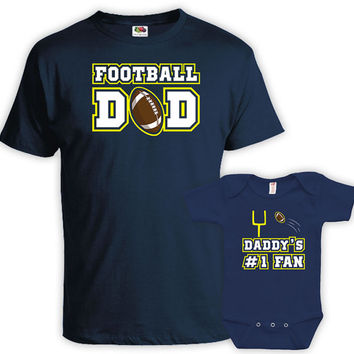Matching Father And Baby Shirts Father And Son Gift Father And Daughter Shirt Daddy Gifts Football Dad Daddy's #1 Fan Bodysuit MAT-722-723