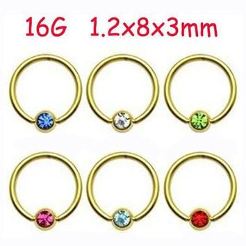 ac PEAPO2Q 2Piece Stainless Steel Gold Captive Hoop CBR Eyebrow BCR Tragus Earrings Nose Closure Ring Body Piercings Jewelry Helix
