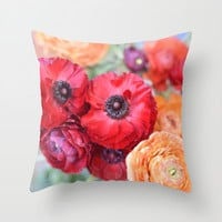 Rosey Ranunculus Throw Pillow by Lisa Argyropoulos