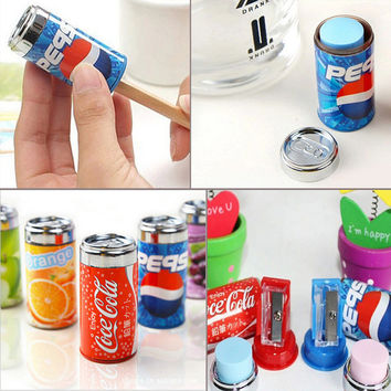 Creative Cola Cans Coke Sharpeners Drawing Writing Sharpener With Eraser Novelty for kids office school supplies