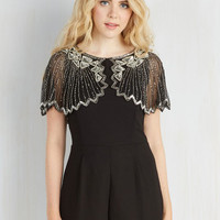 Vintage Inspired Short Length Jumper And the Shimmer Is Romper in Raven