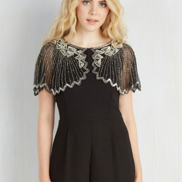 Vintage Inspired Short Length Jumper And the Shimmer Is Romper in Raven by ModCloth