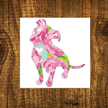 LILLY PULITZER Pitbull Heart Decal | Pitbull Mom Decal | Dog Mom Decal | Dog Dad Decal | Dog Family Decal | Love Sticker | Love Decal  | 174