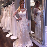 2016 Sexy Appliques Vestido De Festa Mermaid Long Prom Party Dresses Sheer Lace Plus Size Mother Evening And Formal Dresses