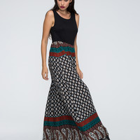 Multicolor Tribe Paisley Print Cut Out Back Maxi Dress
