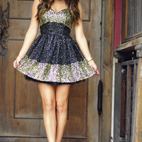 Get Your Shine On Dress: Black/Gold | Hope's