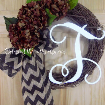 SUMMER WREATH-spring wreath-monogram wreath-grapevine wreath-outdoor wreath-chevron burlap bow-hydrangea wreath