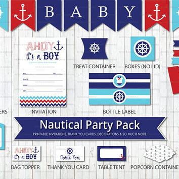Nautical Themed Baby Shower, Printable Party Pack,Red Blue, Ahoy, Its a Boy, Under the Sea, Beach, Baby Shower, DIY Party, DIY Decorations