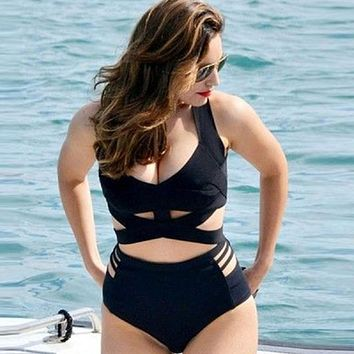 Sexy Full Figure Bandage OnePiece Cut-Out Swimsuit