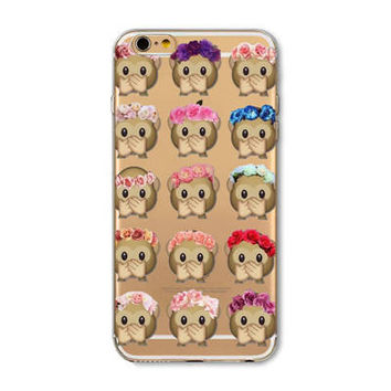 Facebook Monkey Flower Crown Emoji Collage Painted Soft TPU Silicon Cases CoverCase For Apple iPhone 4 4S 5 5S SE 5C 6 6S 6 Plus 6S Plus