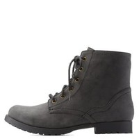 Black Low Profile Combat Booties by Qupid at Charlotte Russe