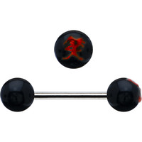 Black and Red Smile Chinese Symbol Barbell Tongue Ring