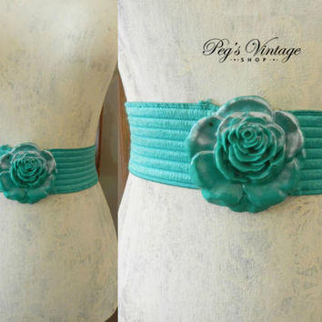 Vintage Turquoise Green Rose Stretch Belt, Green Flower Buckle, 80's Ladies Trending Fashion, Charmant CA Fashion Accessories