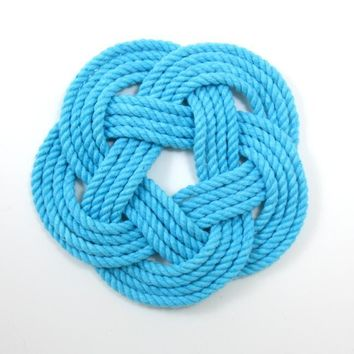 Sailor Knot Coasters, woven in Turquoise Cotton , Set of 4