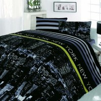 100% Cotton 4pcs New York Nights Double Size Duvet Cover Set City Lights Theme Bedding Linens