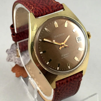 "ULTRA RARE Vintage Men's wristwatch called ""SECONDA  de luxe"", Automatic 30j.Rare timepiece!"