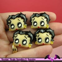 BETTY BOOP Head Resin Decoden Flatback Cabochons 25x19mm (4 pieces)